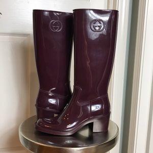 Gucci tall Logo Plum Rainboots sz 38